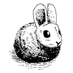 An inked drawing of the Hare mascot, a fuzzy rabbit